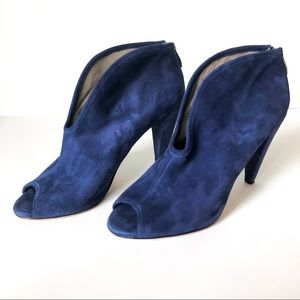 Vince Camuto Blue Suede V-Cut Peep Toe Booties